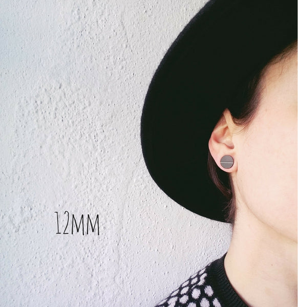 12mm plain black unisex vinyl record stud earrings