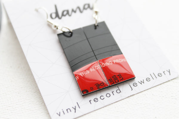 Geometric small black and red vinyl record dangle earrings
