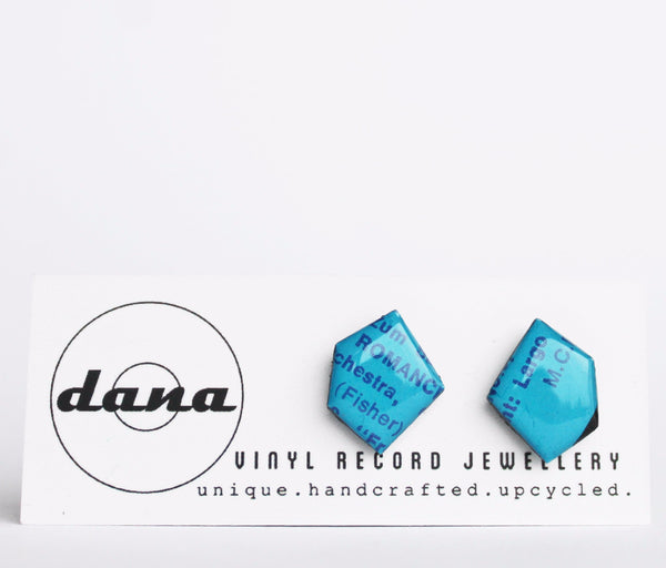 Recycled vinyl record jewelry / blue studs