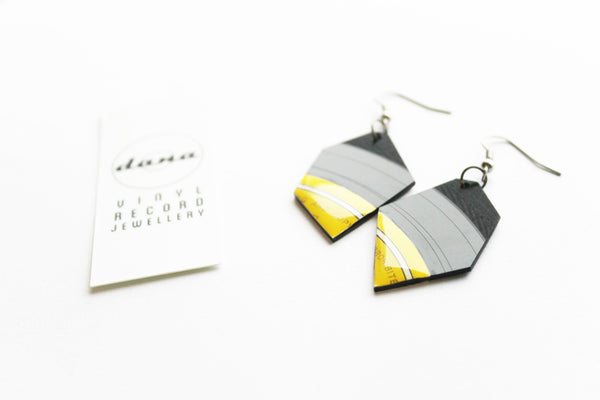 yellow vinyl record earrings
