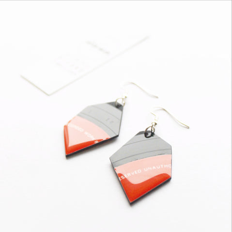 red vinyl record dangle earrings