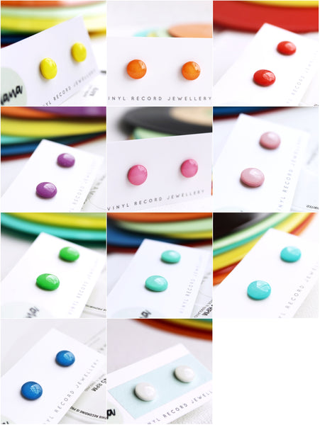 Colorful eco resin nickel free vinyl record stud earrings / pick your color!