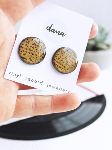 bronze disc stud earrings handmade from upcycled vinyl record