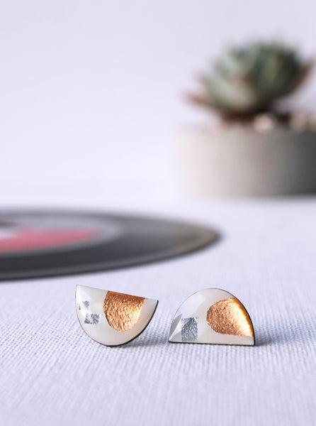 *new* mixed metallics contemporary semicircle stud earrings / vinyl record jewelry