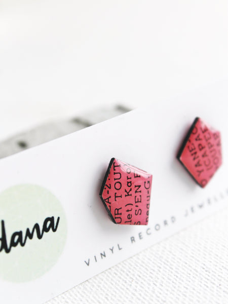 30% OFF Pink Nuggets - recycled vinyl record stud earrings by Dana Jewellery