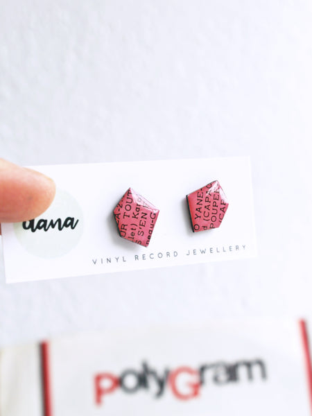 Pink Nuggets - recycled vinyl record stud earrings by Dana Jewellery