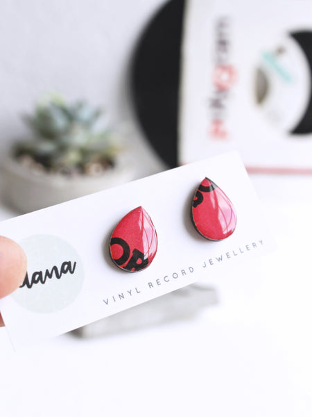 50% OFF Black and pink tear drop vinyl record stud earrings by Dana Jewellery