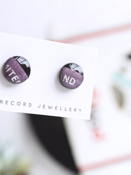 Black and purple stud earrings made from vinyl record - one of a kind jewelry