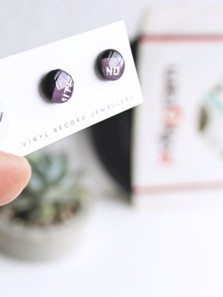 50% OFF - Black and purple stud earrings made from vinyl record - one of a kind jewelry