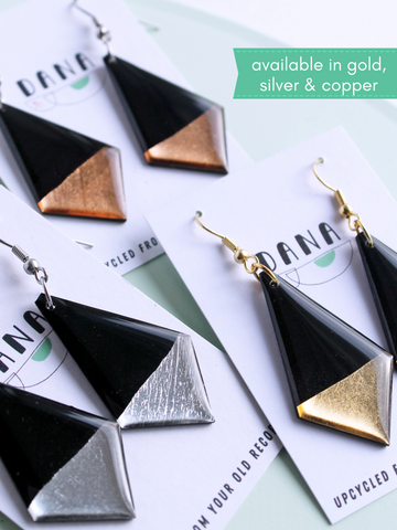 Classy yet upcycled geometric vinyl earrings