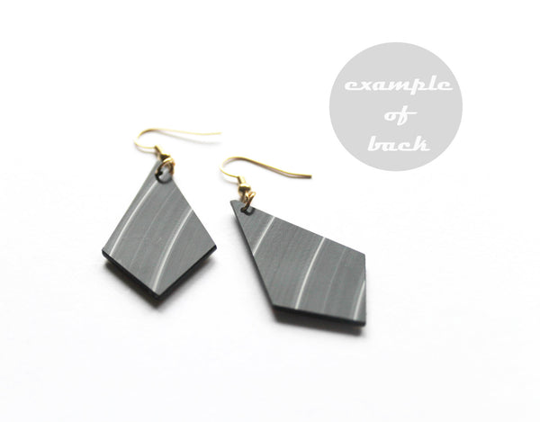 Contemporary recycled earrings / gold earrings