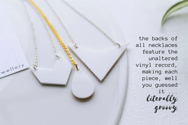 Recycled vinyl record jewelry by Dana Jewellery
