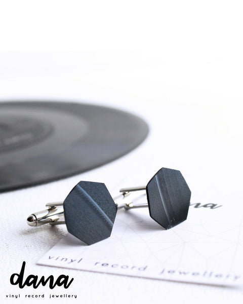 Geometric black vinyl record cufflinks / unique recycled gift for him
