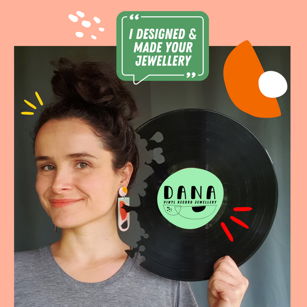 unique art necklace / upcycled vinyl record earrings