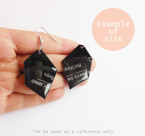 Geometric vinyl record earrings / Eco jewelry