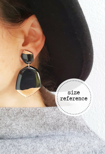 Black and silver vinyl record statement earrings / vinyl record jewelry