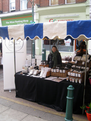 Selling tea at the Christmas Market, Balham