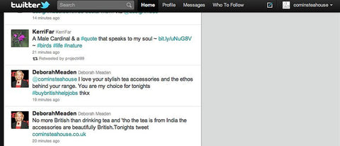 Deborah Meaden's tweet about British teaware