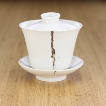 Coffee Striped Porcelain Gaiwan [Da Bai, Nantou Taiwan] 150ml