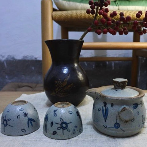 Yangyang Li Jingdezhen Tea Set [Plain Cups]