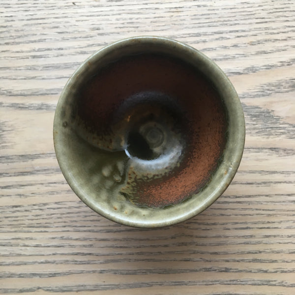 Green Brown Tokoname Teacup [H 7cm D 8cm]