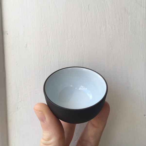 Yixing Pottery Sipping Cup [Dark brown white porcelain inside]