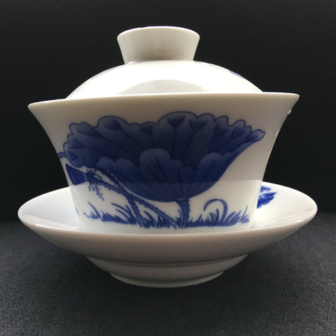 "Chinese ""Large Blue Flower"" Gaiwan Bowl"