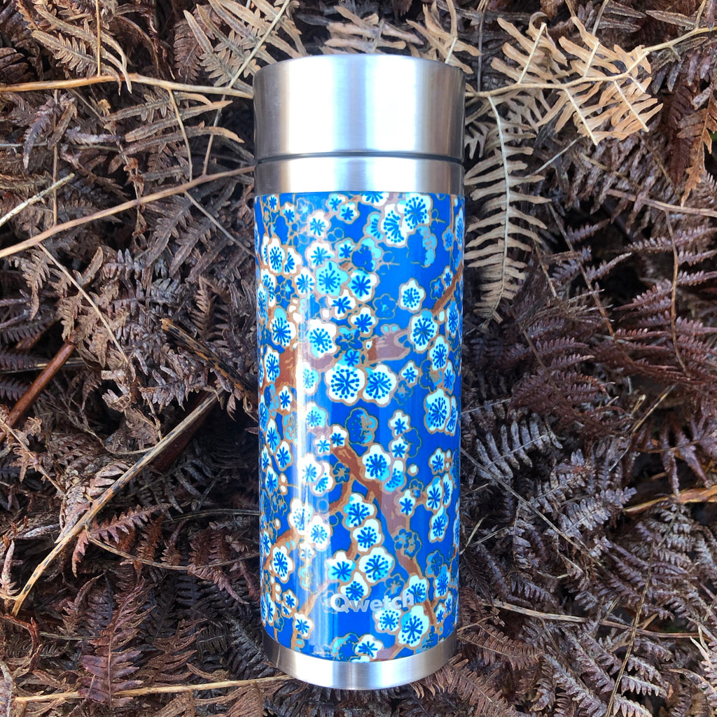 Blue flower tea travel Flask [30cl stainless steel]