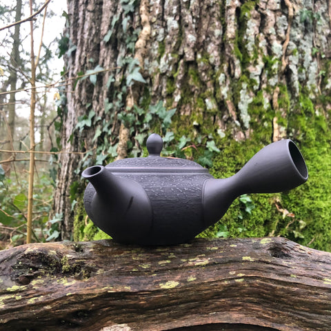 Black Texture Kyusu Teapot 320ml (ceramic strainer)