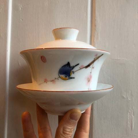 Chinese Blue Bird Gaiwan Bowl