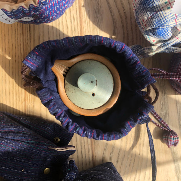 Small Blue / Pink / Stripy Patchwork Drawstring Teapot Bag | Zhu Ring Studio Jingdezhen