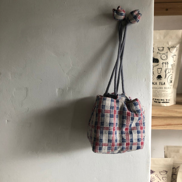 Small Red & Blue Patchwork Square Drawstring Teapot Bag | Zhu Ring Studio Jingdezhen