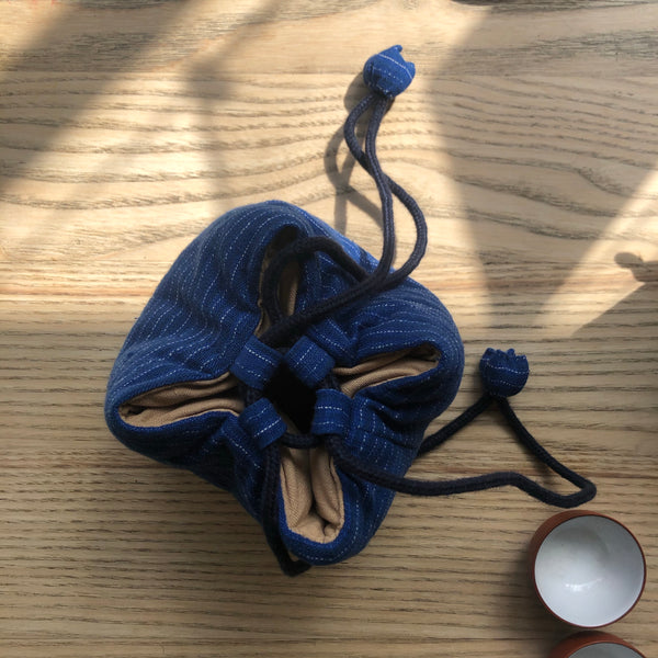 Medium blue striped Drawstring Teapot Bag | Zhu Ring Studio Jingdezhen