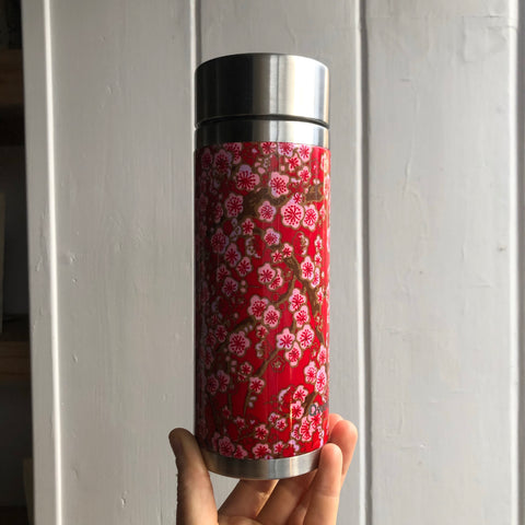 Pink flower tea travel Flask [30cl stainless steel]