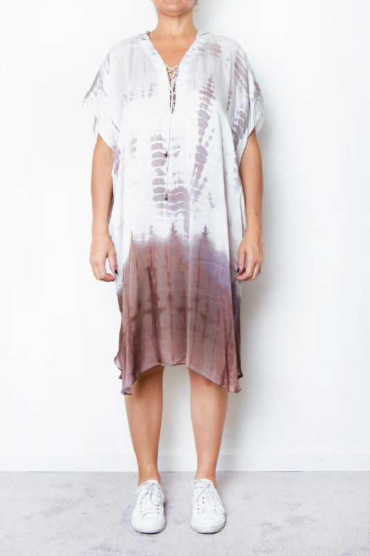 Willow Tie Dye Silk Kaftan Mid-Length