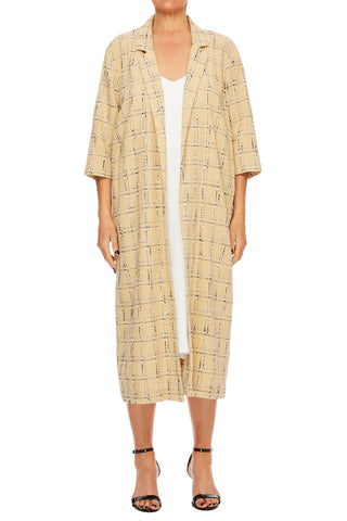 Checkered Cotton Burlap Summer Coat