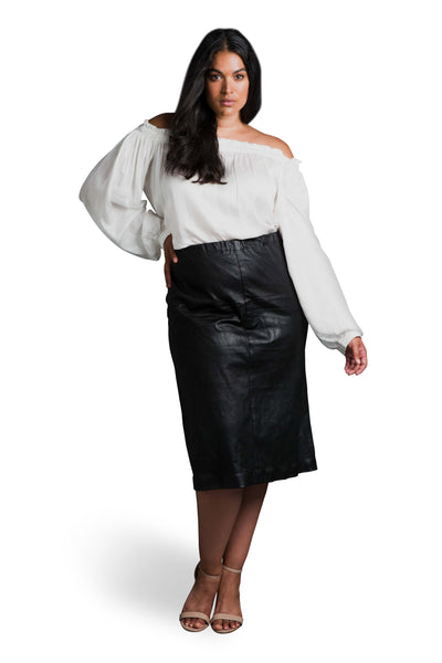Stretch Leather Pencil Skirt (plus size)