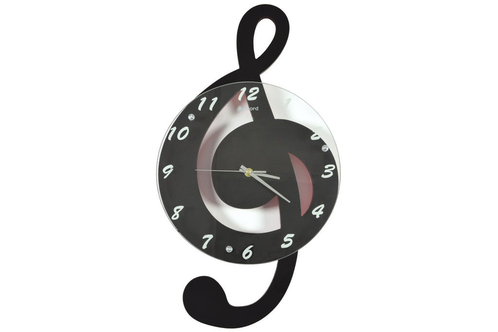 Chord Black Treble Clef Wall Clock