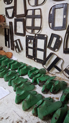leather sandal templates and moulds in workshop