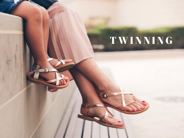 Twinning in our Athena sandals