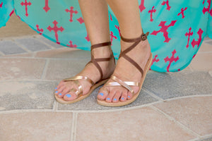Kassia leather strap sandals in chocolate brown and rose gold