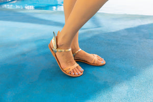 Ermes gold winged and nude strap leather summer sandals