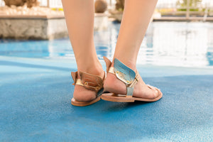 Ermes gold winged and nude strap leather summer style sandals