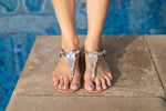 Mykonos silver sandals in leather