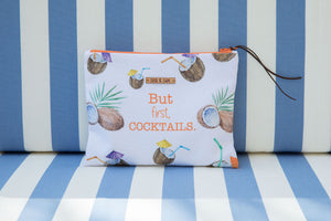 Cocktails and Coconuts bikini bag with waterproof lining