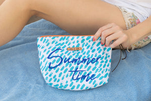 Summer Time Waterproof lined Bag for the Beach, Pool, Travel or Makeup - Kardia