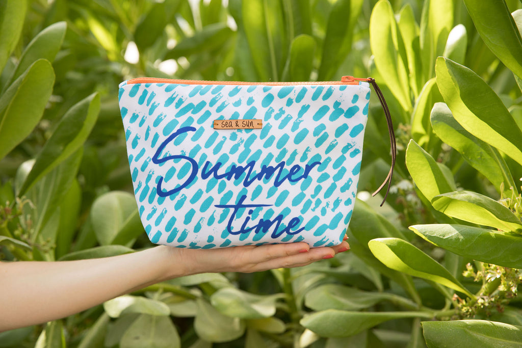 Summer Time multi use bag for beach pool travel or makeup