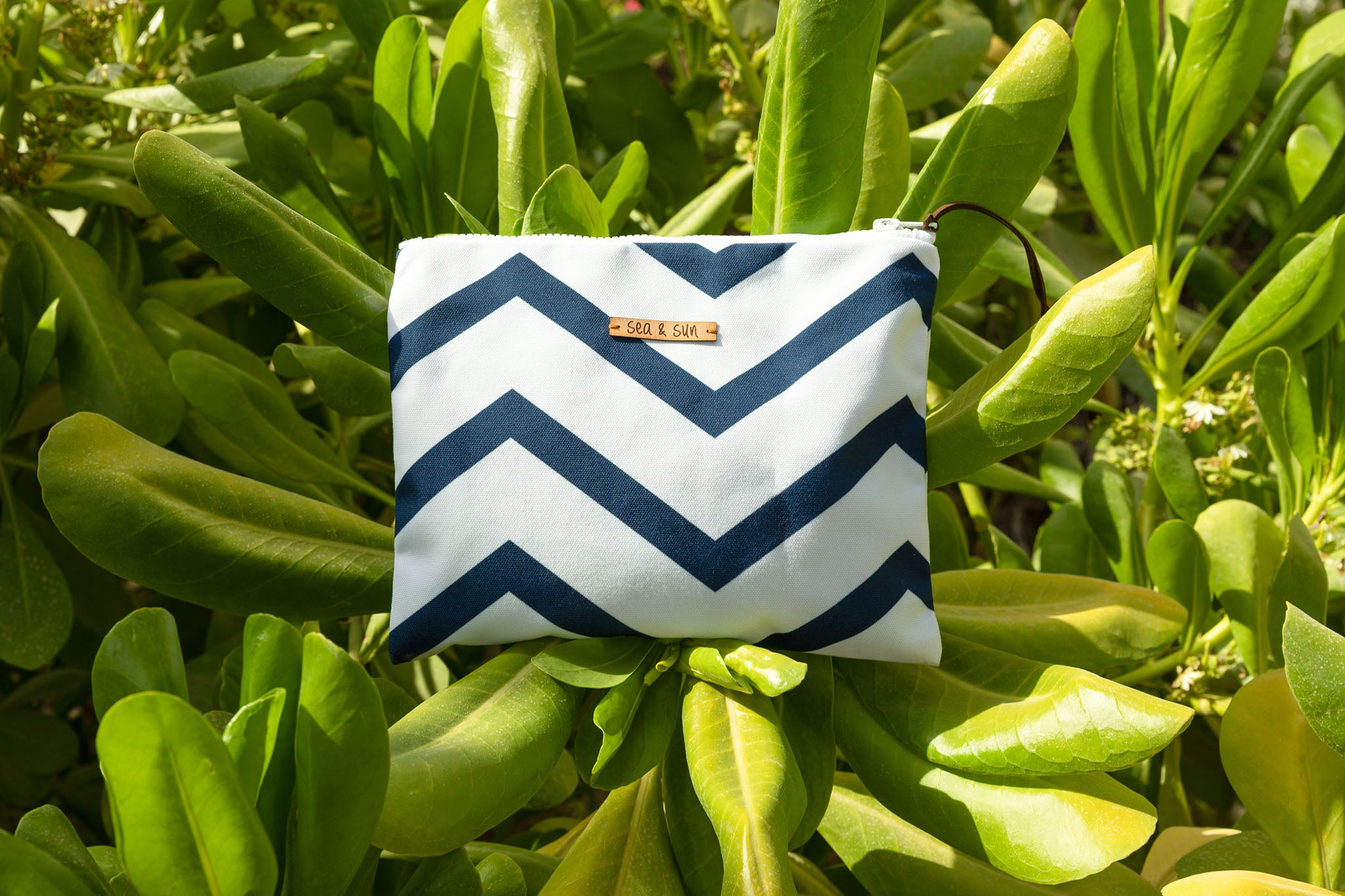 Boat Day navy and white strip swimwear bag