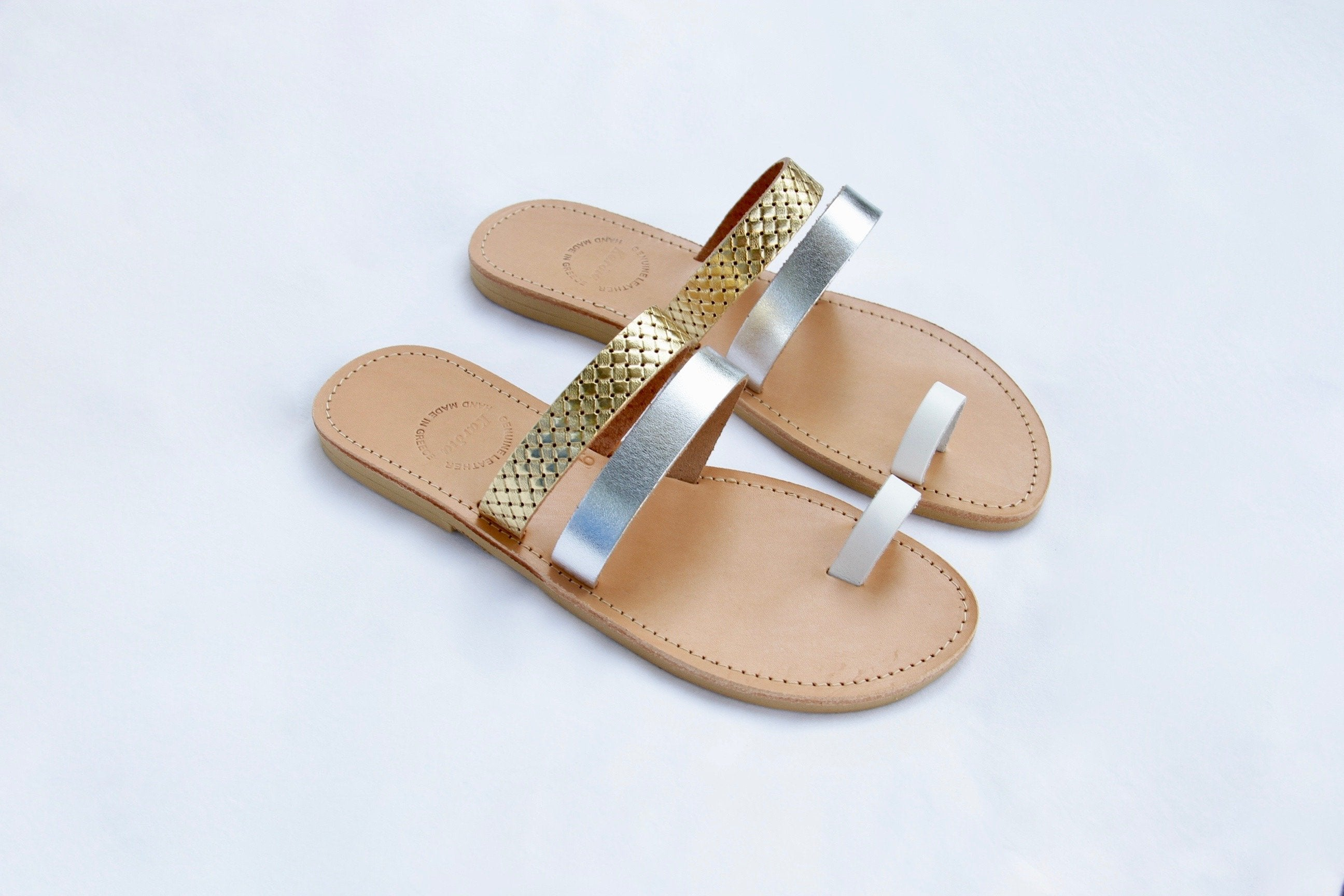 Asteria Sandals with Gold Silver and White Straps - Kardia