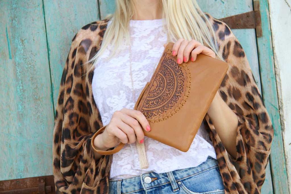 Tallulah Boho Pouch bag in soft Tan leather - Kardia